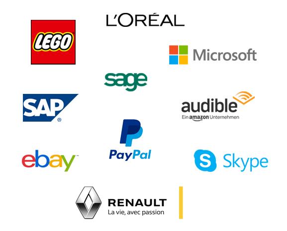 L'Oréal, Lego, Sage, Microsoft, SAP, PayPal, Skype, ebay, Renault