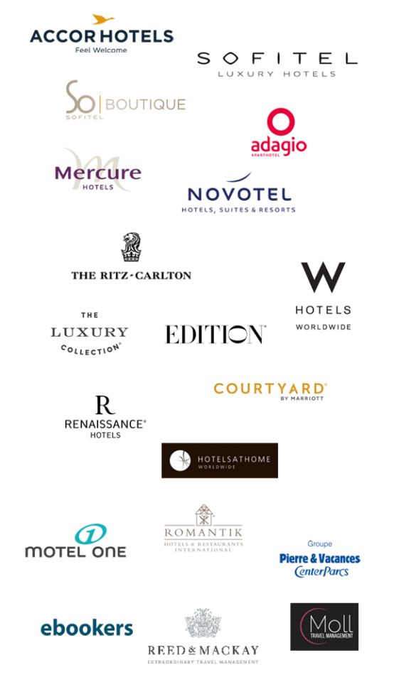 Accor Hotels, Sofitel, Mercure, Adagio, Motel One, Novotel, W Hotels, Romantik Hotels, Hotels at Home, Pierre & Vacances, Reed & McKay, Moll Travel, eBookers, Ritz-Carlton, The Luxury Collection, Shop Edition, Renaissance Hotels