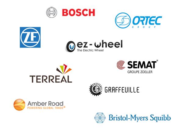 Bosch, Ortec, ZF Friedrichshafen, Semat, Graffeuille, Terreal, Amber Road, Bristol-Myers Squibb, ez-Wheel