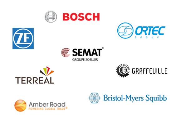 Bosch, Ortec, ZF Friedrichshafen, Semat, Graffeuille, Terreal, Amber Road, Bristol-Myers Squibb