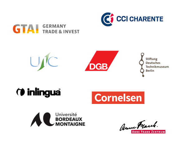 GTAI, CCI Charente, UIC, DGB, Stiftung Deutsches Technikmuseum Berlin, Cornelsen, Inlingua, Université Bordeaux Montaigne, Anne Frank Zentrum