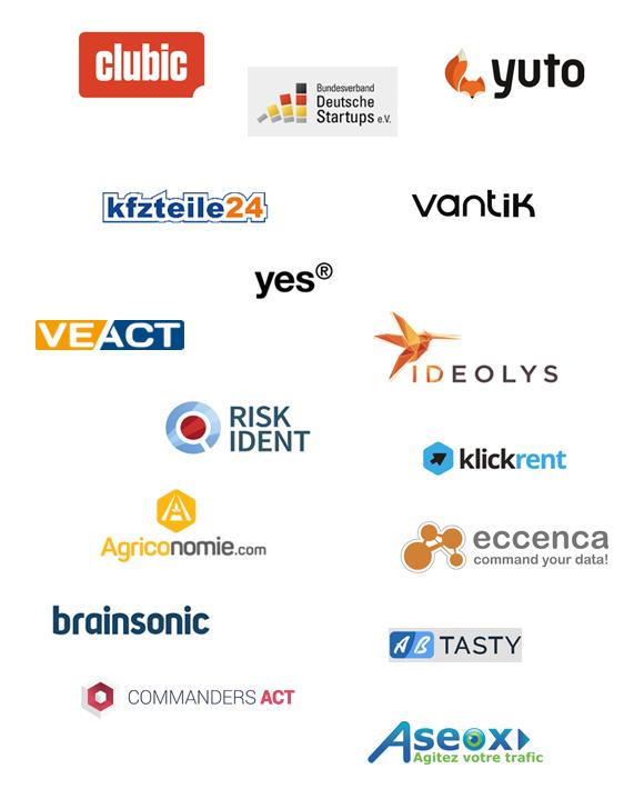 Clubic, Ideolys, Vantik, Agriconomie, Carpardoo, Veact, Klickrent, Risk Ident, Bundesverband Deutsche Startups e.V., Yes, Yuto, Eccenca, Brainsonic, Commanders Act, AB Tasty, Vantik, Aseox
