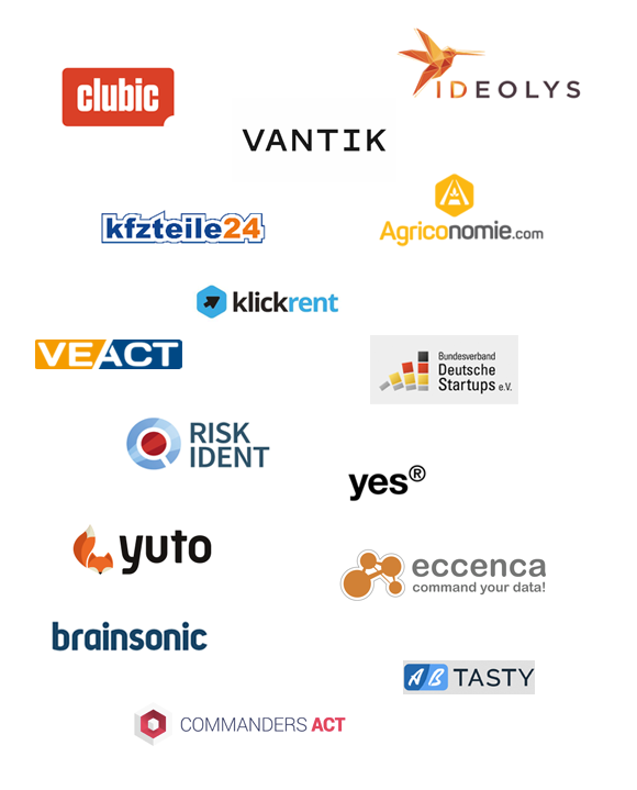 Clubic, Ideolys, Vantik, Agriconomie, Carpardoo, Veact, Klickrent, Risk Ident, Bundesverband Deutsche Startups e.V., Yes, Yuto, Eccenca, Brainsonic, Commanders Act, AB Tasty