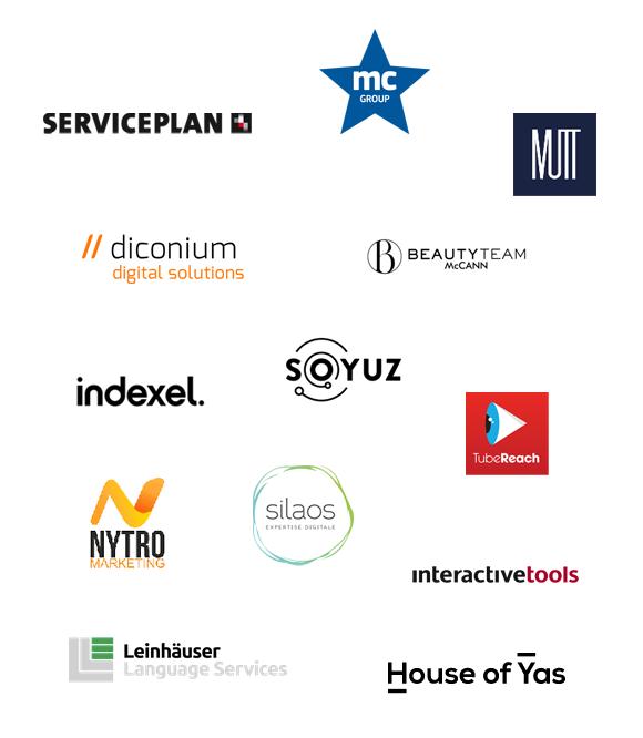 Service Plan, MC Group, MUTT, Diconium, McCann, Indexel, Tubereach, Silaos, Nytro Marketing, interactivetools, House of Yas, Leinhäuser, Soyuz