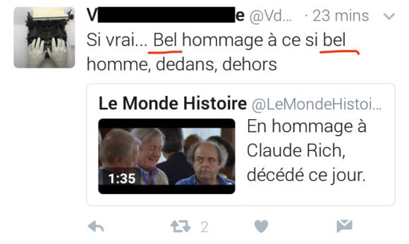 Fig. 1 – Un doublé gagnant sur Twitter, suite au décès de Claude Rich Bel et Bel