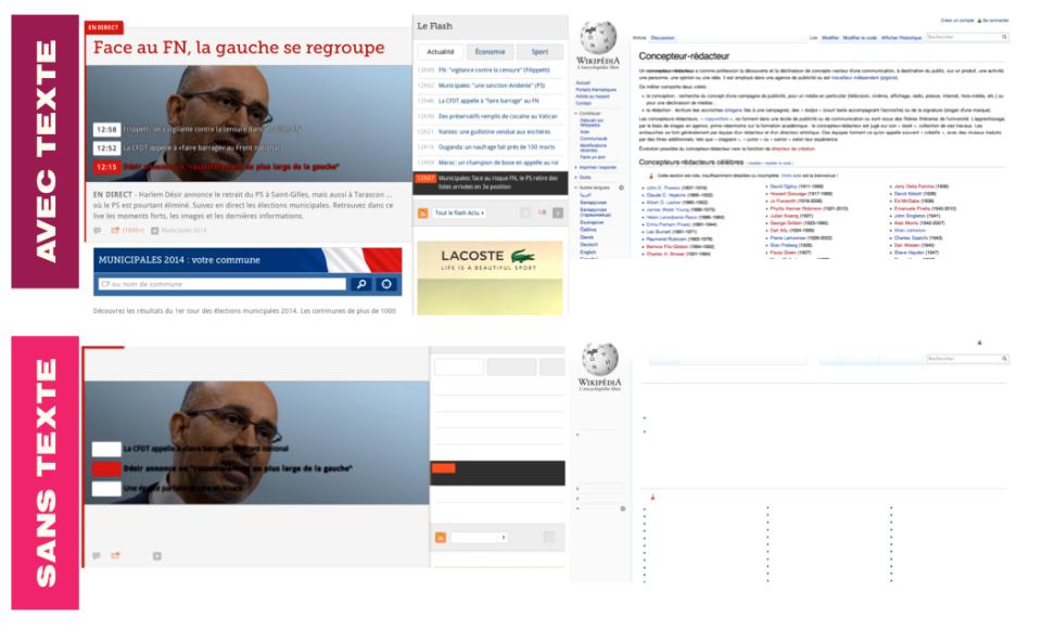 Lefigaro et wikipedia avec et sans texte