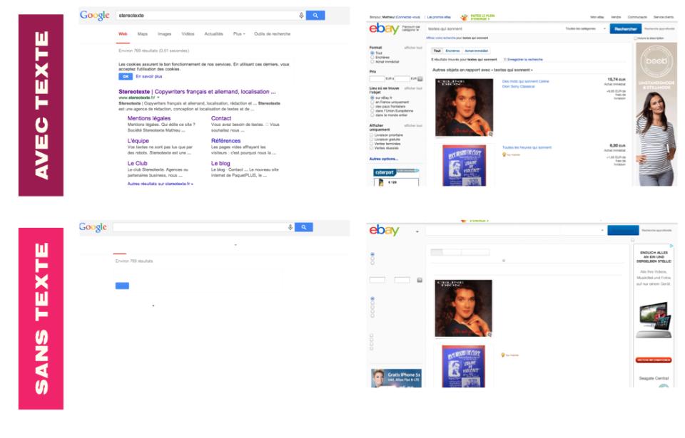 Google et ebay avec texte et sans texte