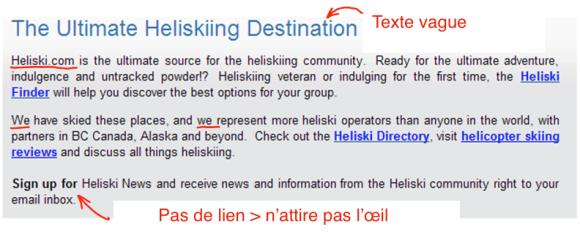 Heliski.com perd trop de temps à persuader des visiteurs convaincus